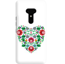 FUNNY CASE FLOWERS WHITE HEART PRINT HTC U12 PLUS