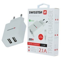 Wall charger Swissten Smartic 2xUSB 2.1A + Cable iPhone Lightning 1.2m white