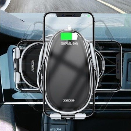 Car holder 2in1 with induction charging for dashboard or ventilation grille automatic JOYROOM Speed Series Dashboard Air Outlet Wireless Charging Induction Car Bracket (JR-ZS199) gray